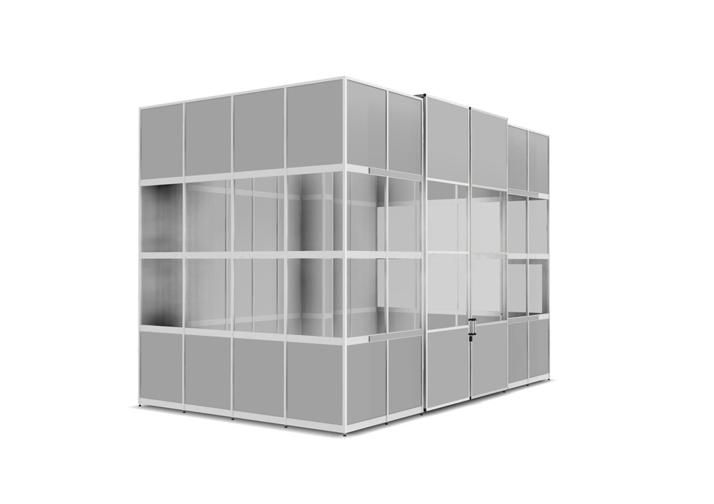 Kanya clean room render example small enclosure with sliding doors 1000px