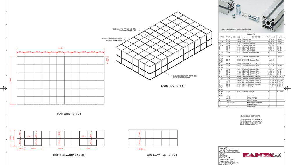Kanya clean rooms 2d technical drawing example