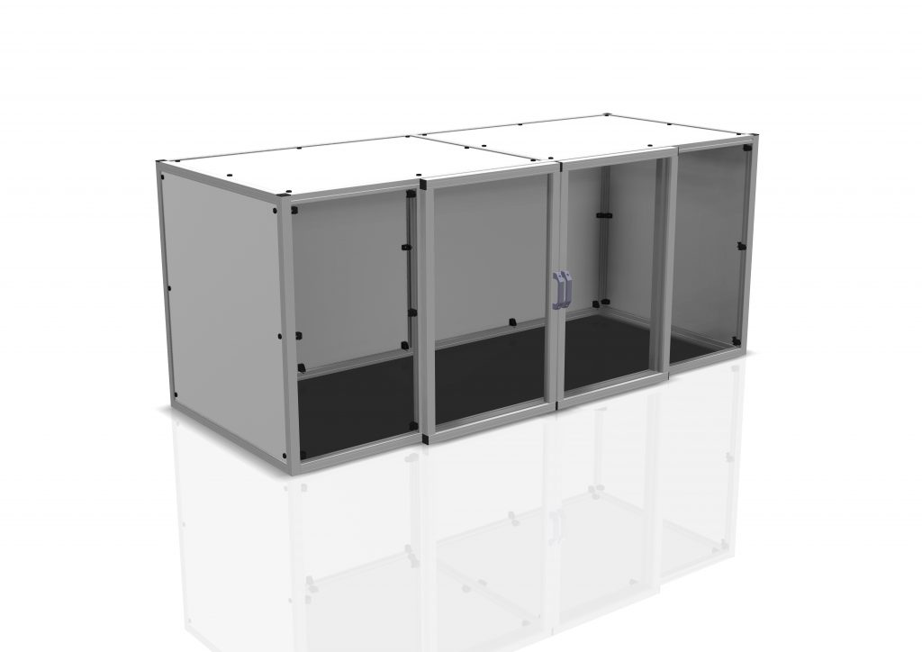 Kanya enclosure render example equipment cabinet with glass doors scaled