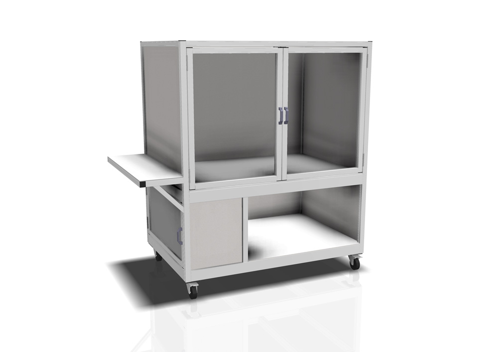 Kanya enclosure render example mobile equipment cabinet with cupboard storage 1000px
