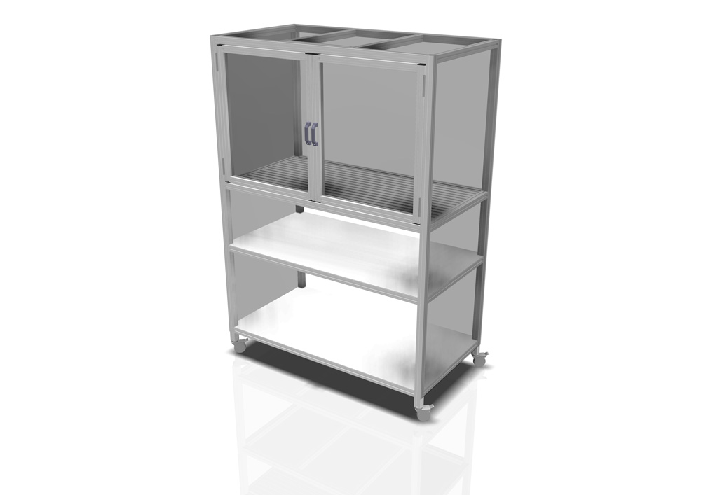Kanya enclosure render example mobile equipment enclosure with double doors and shelving 1000px