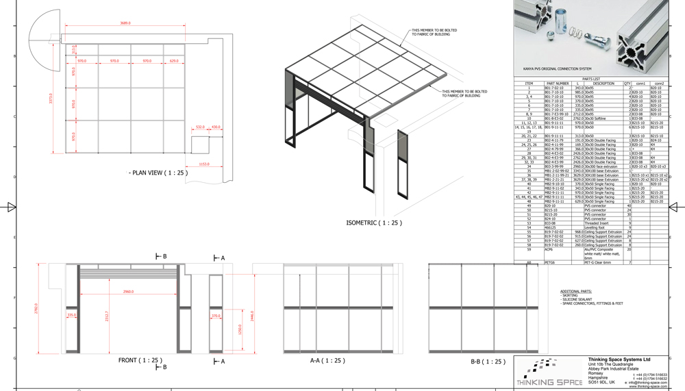 Kanya partitions 2d technical drawing example
