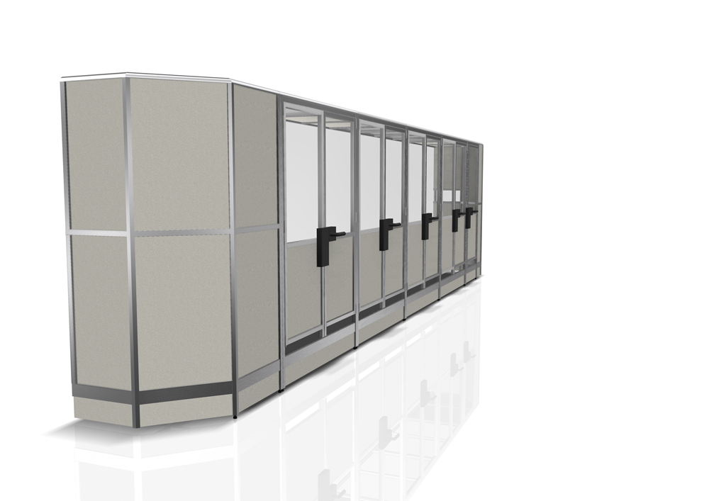 Kanya partitions render example external view full height multiple doors 1