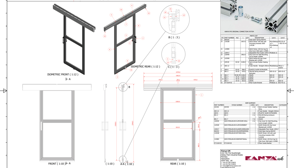 Kanya safety doors 2d technical drawing sliding door example