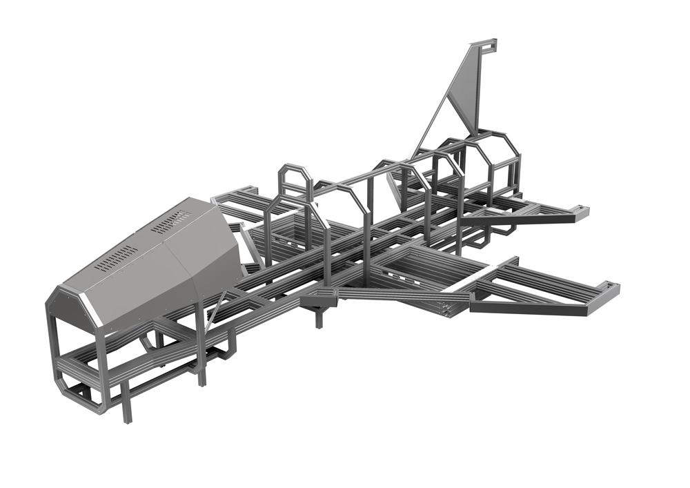 Kanya test rigs render example aircraft training test rig front view