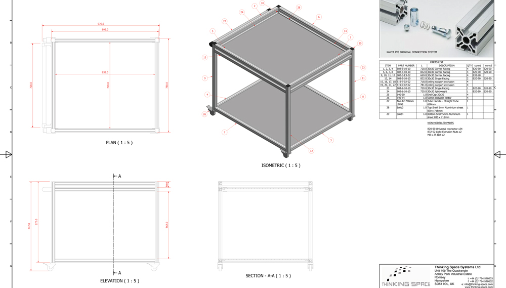 Kanya trolleys 2d technical drawing example
