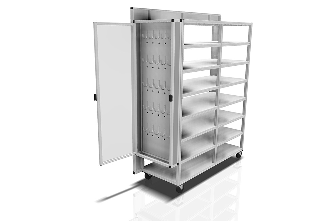Kanya trolleys render example storage trolley shelving and cupboards 1000px