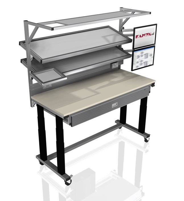 Kanya workbenches render example height adjustable workstation e1595852476116