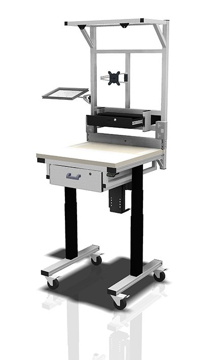 Kanya workbenches render example single height adjustable workstation with accessories 1000px e1595852458145